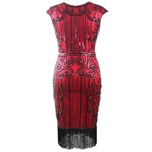 1920s Vintage Dresses for Women, Red Bodycon Dress, 1920s Fashion Dress for Women, Sequin Cap Sleeve Dress, Women