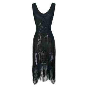 1920s Black Sleeveless V Neck Sequin Inspired Cocktail Fringed Flapper Dress N18226