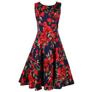 Spring Garden Party Picnic Dress, Party Cocktail Dress, Vintage Casual Retro Dress, Cotton Vintage Tea Dress, Party Swing Dress, Plus Size Dress, #N11920
