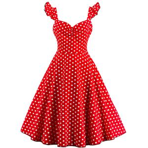 1950s Vintage Sleeveless Polka Dot A line Casual Cocktail Dress N12720