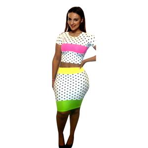 Pokadot Two Piece, Women Clothing Dots Bandage Dress, O-Neck Novelty Exclusive Bodycon Evening Party Dress, #N6803
