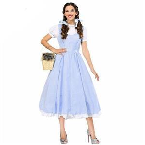 Kansas Girl Cosplay Costume, German Country Girl Costume, 2 Piece Kansas Girl Long Dress Costume, Kansas Girl Cosplay Party Costume, #N16010