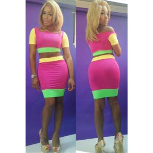 2 Piece Bandage Dress, Long Sleeve Crop Top & Midi Skirt, 2 Piece Skirt And Crop Top, #N7648