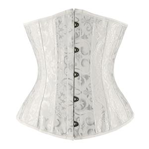 Waist Cincher Corset Body Shaper Girdle, Steel Bone Waist Training Corset, 24 Spiral Steel Boned Brocade Corset, #N8392