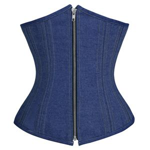 Double Boned Underbust Corsets, Denim Steel Bones Underbust Corset, Dark-blue Waist Training Underbust Corset, Steel Boned Waist Trainer, Underbust Body Shaper, #N18347