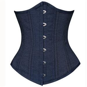 Double Boned Underbust Corsets, Denim Steel Bones Underbust Corset, Dark-blue Waist Training Underbust Corset, Steel Boned Waist Trainer, Underbust Body Shaper, #N8839