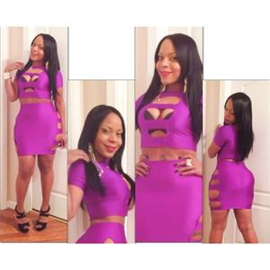 2PC Set Purple Dress, Cut Out Bandage Dress,  Two Pieces With Opening Dress, #N7695