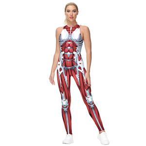 Evangelion 3D Printed Jumpsuit, Halloween Backless Sleeveless Slim Fit Bodysuit, Halloween Bodycon Jumpsuit, Evangelion Vest Jumpsuit, Halloween Vest Jumpsuit for Women, #N21242