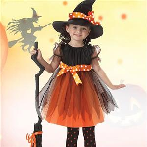 3PCS Lovely Witch Dress Halloween Masquerade Cosplay Girls Costume N17754