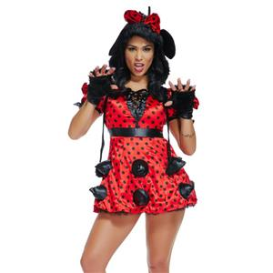 Sexy Miss Mouse Costumes, Lovely Mouse Costume, Sexy  Mini Dress Costume, Polka Dots Mini Dress, Adult Cosplay Costume, #N18473