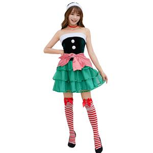 4pcs Sexy Lady Green Velvet Off-shoulder Cute Tutu Christmas Costume With Apron N19457