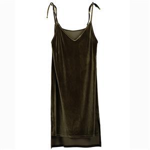 Army Green Sleeveless Dress, Fashion V Neck Dress, Adjustable Spaghetti Straps Dress, Midi Pullover Tops, Asymmetric Slit Dress, Women