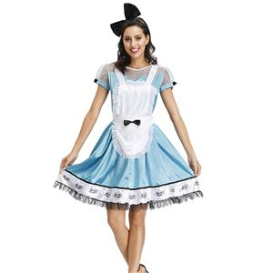 3ps Adorable Alice Light-blue Wonderland Dress Halloween Cosplay Maid Fancy Costume N19621