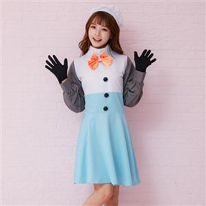 Adult Ice Princess Snowman Halloween Costume, Cute Snowman Cosplay Costume, Winter Sonata Mini Dress Costume, Funny Snowman Costume, Snowman Fancy Dress Cosplay Costume, #N19468
