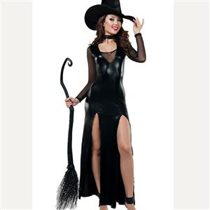 Adult Black Wet Look PVC Evil Witch Halloween Cosplay Costume N17940