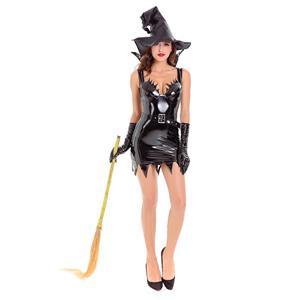 Black Vintage Witch Costume, Vintage Witch Halloween Party Dress, Sexy Black Witch Costume,  Liquid Black Witch Womens Costume, #N14618