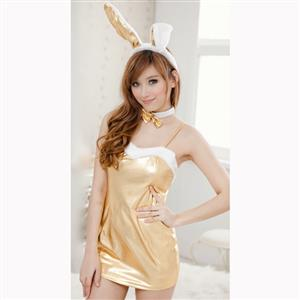 Sexy Adult Bunny Girl Costume, Sexy Gold Spaghetti Strap Nightdress, Faux Leather Lingerie Nightdress, Valentine