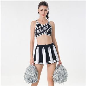 Sexy Adult Cheerleader Costume, Spaghetti Strap Crop Top Skirt Set, Backless Crop Top Mini Skirt Set, Sexy Cheerleader Mini Skirt Set, Fashion Spaghetti Strap Cheerleader Costume, Backless Cheerleaders Costume Set, #N17418