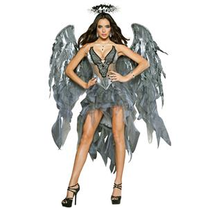 Sexy Adult Noble Fallen Angel Tattered Lingerie Halloween Fancy Cosplay Costume with Wings N19926