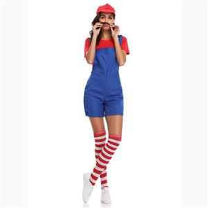 Lovely Mario Halloween Costume, Adult Plumber Suspender Trousers, Adult Plumber Cosplay Costume, Classical Plumber Overalls Costume, Adult Mario Plumber Costume, #N17158
