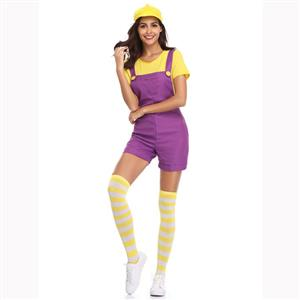 Lovely Mario Halloween Costume, Adult Plumber Suspender Trousers, Adult Plumber Cosplay Costume, Classical Plumber Overalls Costume, Adult Mario Plumber Costume, #N17159