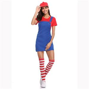 Lovely Mario Halloween Costume, Adult Plumber Suspender Skirt, Adult Plumber Cosplay Costume, Classical Plumber Suspender Skirt Costume, Adult Mario Plumber Costume, #N17154