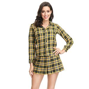 Check Shirt and Mini Skirt School Gilr Set, Sexy Adult School Uniform, Sexy Plaid Skirt Suit, Fashion Student Cosplay Costume, Sexy Plaid Skirt Set Costume, Sexy School Uniform Cosplay for Women, Adult School Girl Role Play Costume, Bra Top and Skirt Set, #N19122