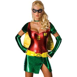 Womens Robin Costume, Sexy Robin Adult Womens Costume, Sexy Robin Costume, Sexy Body Shaper Women Costume, Adult Heroine Costume, Adult Pantomine Robin Costume#N6399