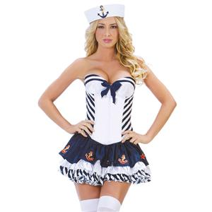 Stars and Stripes Sailor Costume, Blue Sailor Costume, Adult Stripe Sailor Costume, #N5860