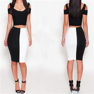 Cut Out Cropped Top Slim Fit Skirt Set, Color Block Bodycon Skirt Set, Cutout Short Sleeve Club Skirt Set, #N8958