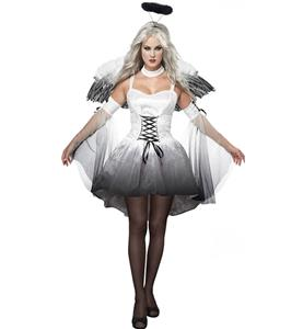 Angel Of Darkness Costume, Black and White Angel Costume, Adult Angel Halloween Costume, #N8717