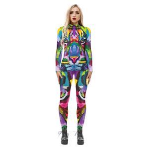 Animal Printed Jumpsuit, Halloween Anima lHigh Neck Slim Fit Bodysuit, Halloween Bodycon Jumpsuit, Long Sleeve High Neck Jumpsuit, Halloween Animal Jumpsuit for Women, #N21249