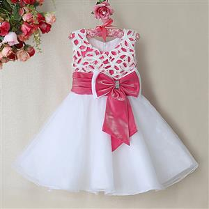 Rose and White Birthday Girl Dress, Sleeveless Applique Work Princess Girl Dress, Mesh and Satin Occasion Dress, #N9093