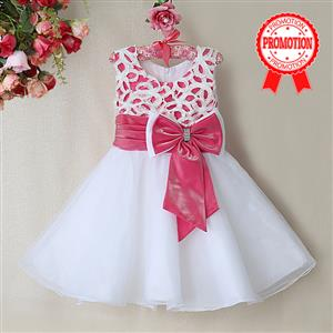 Rose and White Birthday Girl Dress, Sleeveless Applique Work Princess Girl Dress, Mesh and Satin Occasion Dress, #N9093