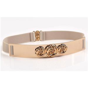 Luxury Metal Waist Belt, Rose Metal Apricot Waist Belt, Vintage Waist Belt Apricot, Waist Belt for Women, Fashion Dress Waist Belt, Elastic Girdle for Women, #N17004