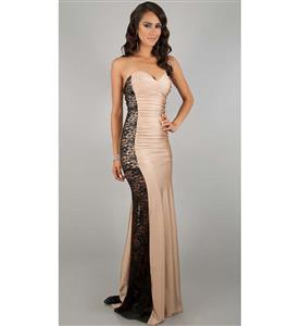 Sexy Courtlike Apricot and Black Sweetheart-neck Satin Lace Long Gown N10190