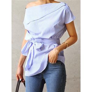 One Shoulder Top,  Azure Shirt, One Shoulder Blouse, Sexy Crop Top, Sexy One Shoulder Blouse Top, Sexy Blouse for Women, #N14273