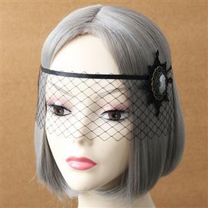 Halloween Masks, Costume Ball Masks, Black Lace Mask, Masquerade Party Mask, Punk Black Mask, Cosplay Face Veil, #MS13017
