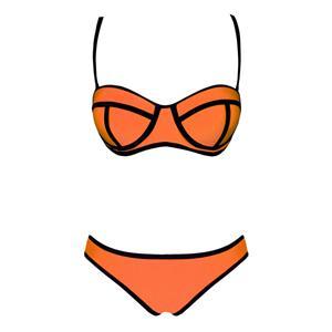 Orange Push Up Swimsuit, Bandeau Padded Bra Bikini, String Top & Bottom Bikini Sets, Fluorescent Bikini, #BK8828