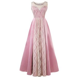 Bateau Neck Maxi Evening Gowns, Pink High Waist Evening Dress, Women