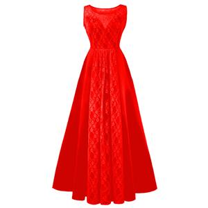 Bateau Neck Maxi Evening Gowns, Red High Waist Evening Dress, Women