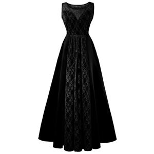 Bateau Neck Maxi Evening Gowns, Black High Waist Evening Dress, Women