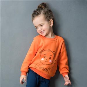 Lovely Bear Print Long Sleeve Sweatshirt, Girls Sweatshirt, Cotton Sweatshit for Girls, Jersey Pullover for Winter, #N12316