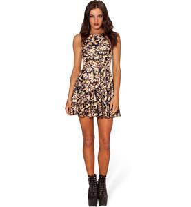 Bee Skater Dress, Sleevele Bee Print Pleated Dress, Bee Reversible Mini Dress, #N8747