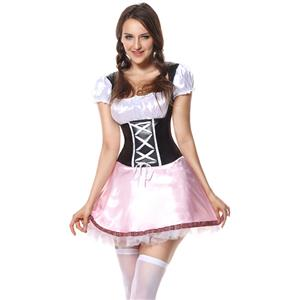 Beer Garden Girl Costume, Pink Beer Girl Costume, Pink Beer Garden Costume, #N5863
