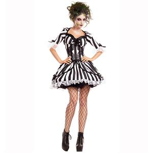 Beetlejuice Black White Striped Dress Womens Adult Costume N14771