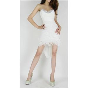 Tail Asymmetrical Hem Dress, Bejeweled V Neck Crinkled Dress, Bejeweled Cocktail Dress, #N5800