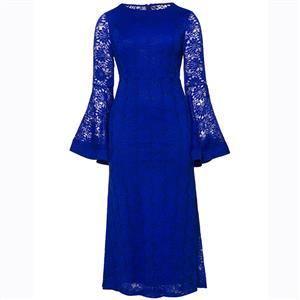 Long Sleeve Dress, Round Neck Dress, Plus Size Dress, Blue Lace Dress, Maxi Dress, Slim Fit Dress, Solid Color Dresses, Elegant Dresses for Women, Bell Sleeve Dress, #N15620