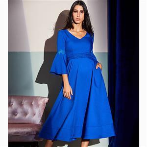 Bell Sleeve Dress, V Neck Dress, Midi Dress, A-Line Dress, Elegant Dresses for Women, Solid Color Dresses, Appliques Dress, 3/4 Sleeve Dress, Back Zipper Dress, #N15589