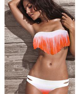 Strapless Fringe Bikini, Bikini in Orange and White Fade, Fringe Bikini, #BK5434